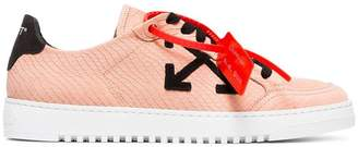 Off-White pink and black carryover snake-embossed leather sneakers