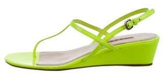 Prada Sport Patent Leather Wedge Sandals