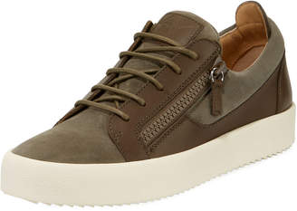 Giuseppe Zanotti Men's Zip-Side Low-Top Sneakers, Light Brown
