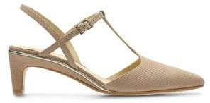 Clarks Ellis Lola Pointed-Toe T-Strap Leather Sandals