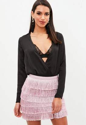 Missguided Tall Black Deep Plunge Bodysuit
