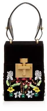 Oscar de la Renta Alibi Floral-Embellished Velvet Top Handle Box Bag