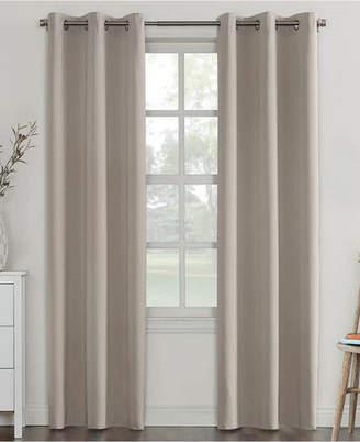 """Sun Zero Closeout! Campus Reversible 40"""" x 95"""" Fleece-Lined Energy-Efficient Blackout Grommet Curtain Panel"""