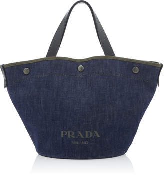Prada Printed Denim Tote