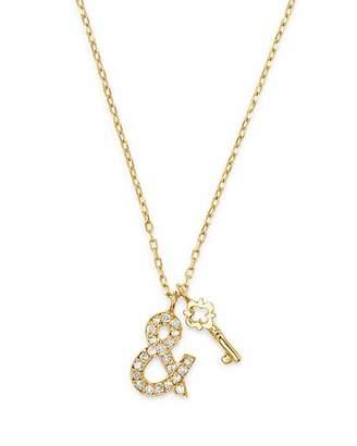 "SUEL Blackened 18K Yellow Gold Key & Heart Lock Diamond Necklace, 20"""