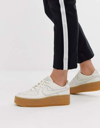 Nike Ivory Gum Sole Air Force 1 Sage Low Trainers