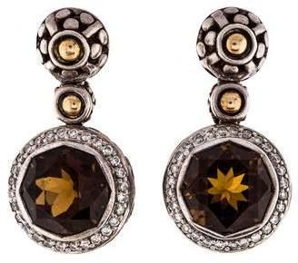 John Hardy Smoky Quartz & Diamond Batu Sari Drop Earrings