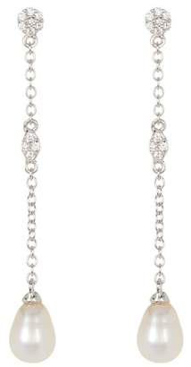 Swarovski ADORNIA Sterling Silver Crystal Accented & 7mm Freshwater Pearl Drop Earrings
