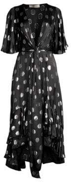Diane von Furstenberg Sareth Tie-Front Hi-Low Polka Dot Dress