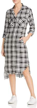 BILLY T Plaid High/Low Shirt Dress