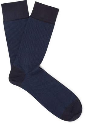 John Smedley Hera Striped Sea Island Cotton-Blend Socks