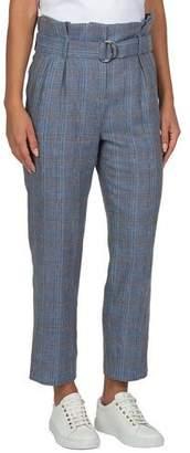 Eleventy Plaid Linen Belted Paperbag-Waist Ankle Pants