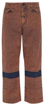 Craig Green Acid Wash Seersucker Cotton Trousers - Mens - Brown
