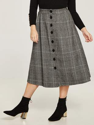 Shein Plus Single Breasted Plaid Skirt