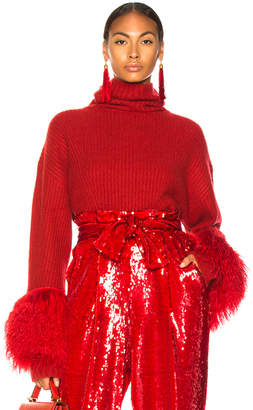 Sally LaPointe Cashmere Turtleneck Sweater With Lamb Shearling in Deep Red | FWRD