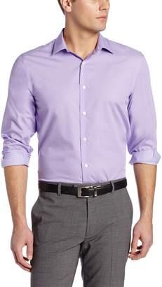 Perry Ellis Men's Long Sleeve Twill Noniron Medium Spread Collar Shirt, Bright White