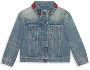 Gucci Girl's Embroidered Collar Denim Jacket