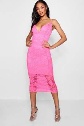 boohoo Tall Strappy Lace Midi Dress