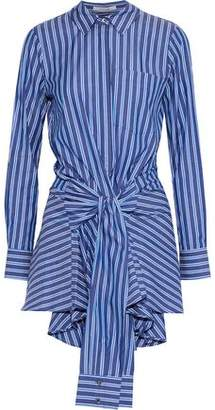 Derek Lam 10 Crosby Tie-Front Striped Cotton-Poplin Mini Dress