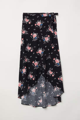 H&M Long Wrap-front Skirt - Pink