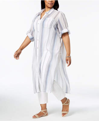 Calvin Klein Plus Size Cotton Striped Crinkle Shirt