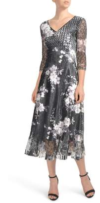 Komarov Floral Charmeuse & Lace Tea Length Dress