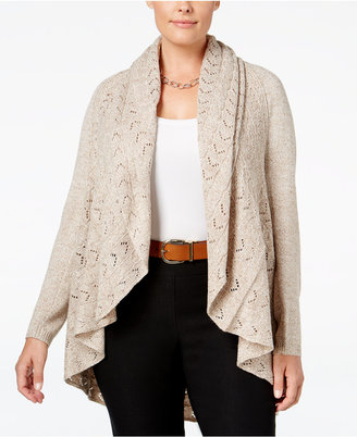 Karen Scott Plus Size Pointelle Open-Front Cardigan, Only at Macy's $54.50 thestylecure.com