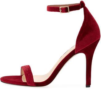 Neiman Marcus Baicho High-Heel Velvet Sandals, Burgundy