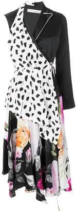 Off-White Patterned Asymmetric Dress