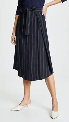 Vince Dobby Stripe Belted Skirt