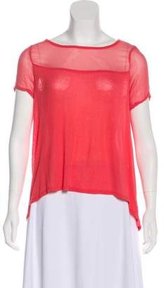 Elizabeth and James Mesh-Accented Short Sleeve Top