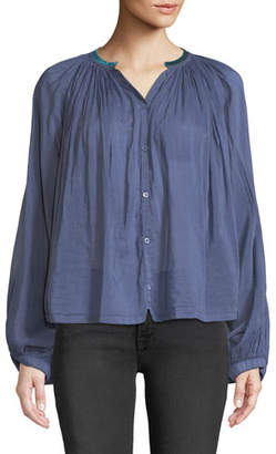 Forte Forte Shirred Button-Front Voile Top