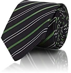 Gucci Men's Striped Textured Silk-Cotton Necktie - Navy