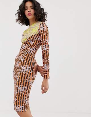 House of Holland vivid panelled twist dress