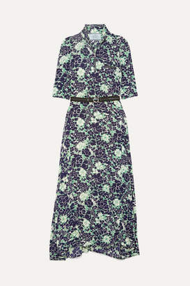 Prada Asymmetric Floral-print Stretch-silk Midi Dress - Navy