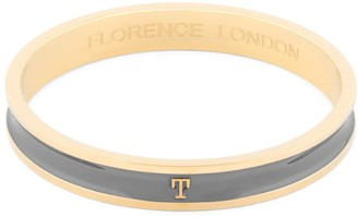Florence London Initial T Bangle 18Ct Gold Plated With Grey Enamel