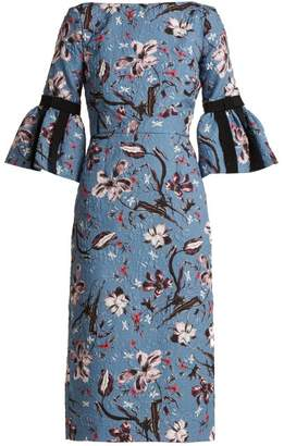 Erdem Alexandra Tulip Dream Floral Print Cloque Dress - Womens - Blue Multi