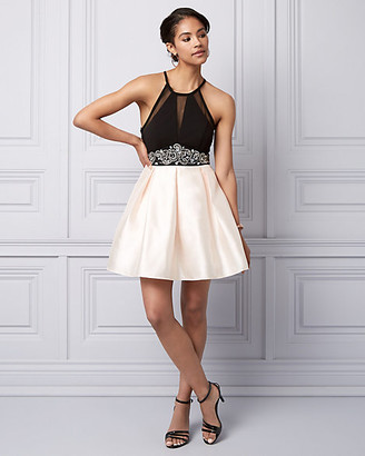 Le Château Satin Fit & Flare Party Dress