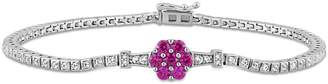 Concerto Silver Gemstone Sterling Silver Tennis Bracelet with Ruby, Created White Sapphire, and 0.016 CT. T.W. Diamonds