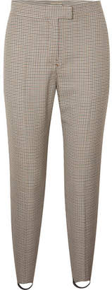 Burberry Checked Wool-blend Slim-leg Stirrup Pants - Brown