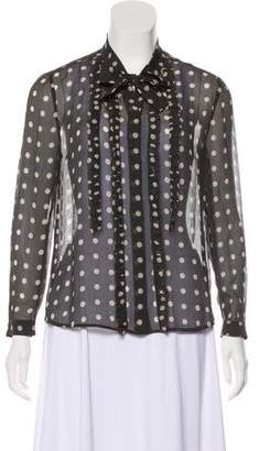 Burberry Sheer Long Sleeve Blouse