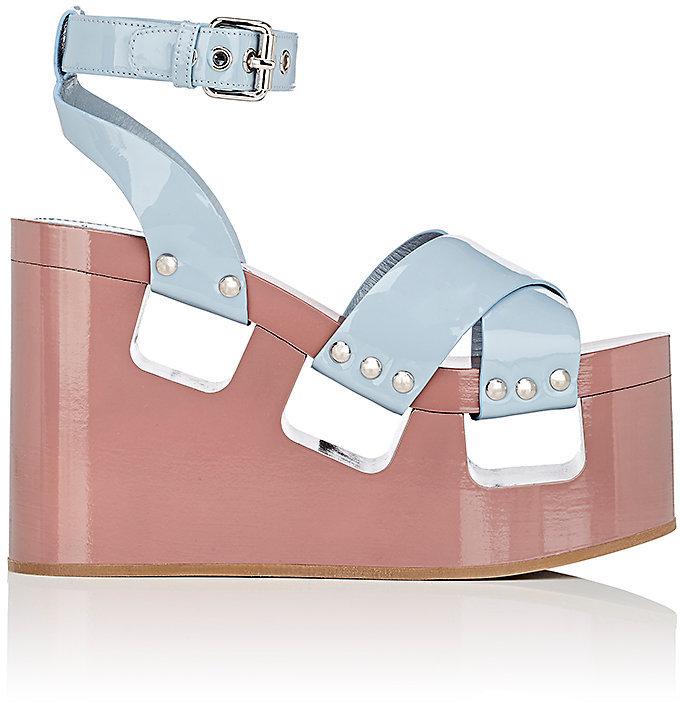 Miu Miu Women's Patent Leather Platform-Wedge Sandals