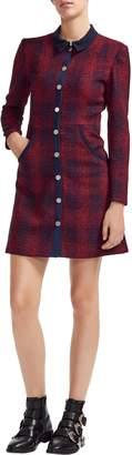 Maje Plaid Tweed Shirtdress