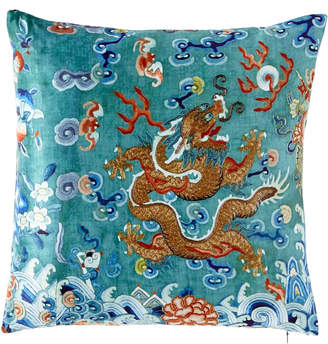 Dragon Optical Poetic Pillow Green West Pillow