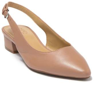 Naturalizer Falcon Leather Pointed Toe Slingback Low Block Pump