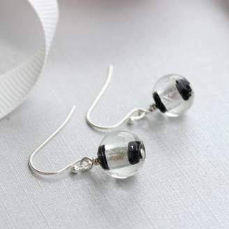 Bish Bosh Becca Black And Silver Striped Glass Earrings