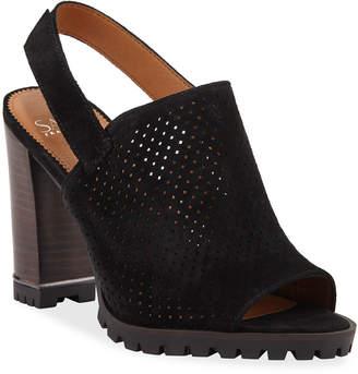 Franco Sarto Analise Block-Heel Suede Slingback Sandals