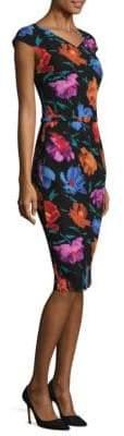 David Meister Cap Sleeve Floral Sheath Dress