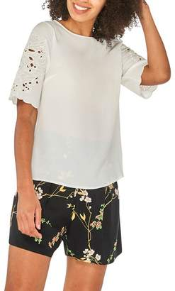 Dorothy Perkins Ivory Cutwork Short Sleeve Top
