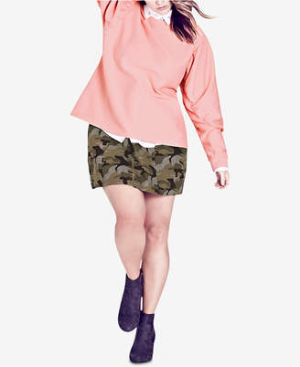 City Chic Trendy Plus Size Puff-Sleeve Sweatshirt